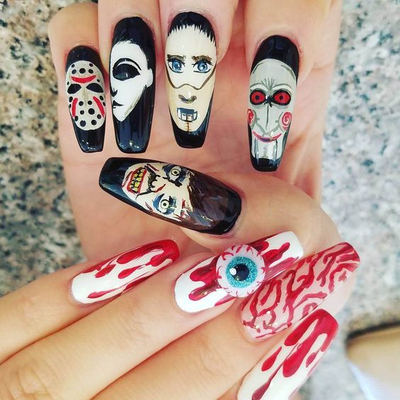 Unique and creative Halloween nail design acrylic; Halloween nail almond; Halloween nail coffin; Halloween nail simple.
